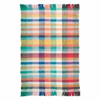 3R Studios Multicolor Plaid Madras Woven Dhurrie Indoor Rug with Fringe