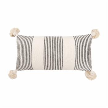 3R Studios Cream Cotton and Chenille Pillow with Vertical Stripes and Tassels