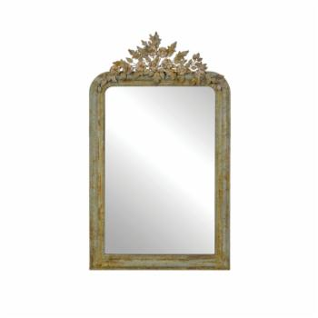 3R Studios Decorative Wall Mirror with Distressed Metal Frame and Tole Flower Accents - 27.75W x 48H in.