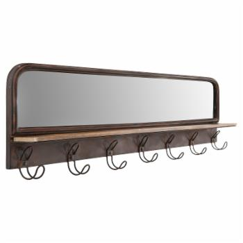 3R Studios Wood Shelf with Hooks and Mirror