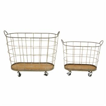 3R Studios Rolling Laundry Baskets - Set of 2