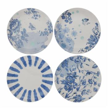 3R Studios White & Blue Stoneware Plates - Set of 4