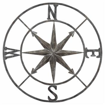 3R Studios Distressed Iron Metal Compass Wall Sculpture