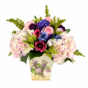 Creative Displays & Designs Mixed Silk Flower Bouquet In Decorative Floral Tin