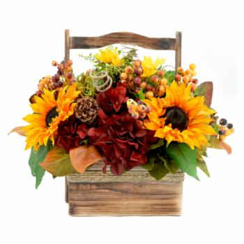 Creative Displays & Designs Artificial Fall Harvest Arrangement In Wood Basket