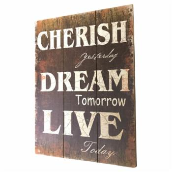 Creative Motion Industries Cherish Yesterday Wall Sign