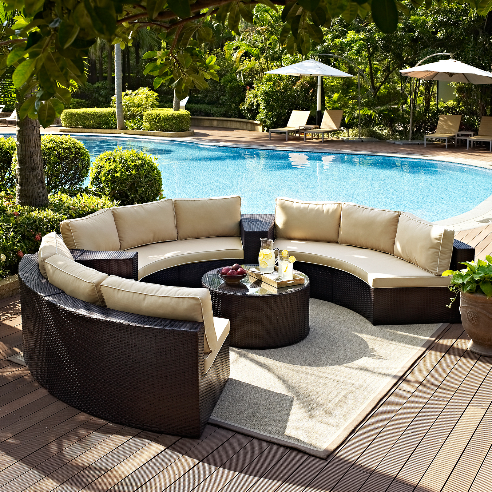 Crosley Catalina Outdoor Wicker Round Sectional Sofa With Coffee Table |  Hayneedle
