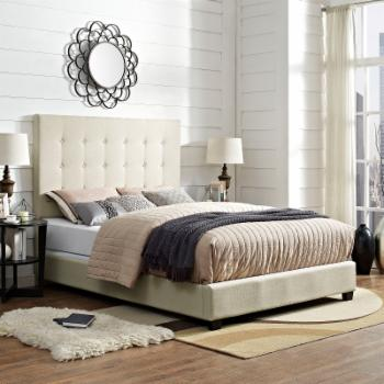 Crosley Reston Square Upholstered Panel Bed