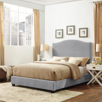 Crosley Bellingham Camelback Upholstered Panel Bed - Shale Microfiber