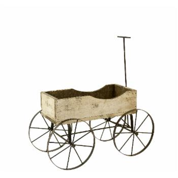 Rustic Arrow Wood Wagon 4 Wheels Plant Stand
