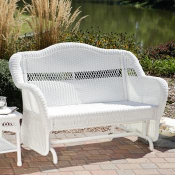 Coral Coast Casco Bay Resin Wicker Outdoor Glider Loveseat