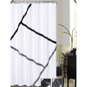 Dainty Home Florence Fabric With Sequins Shower Curtain