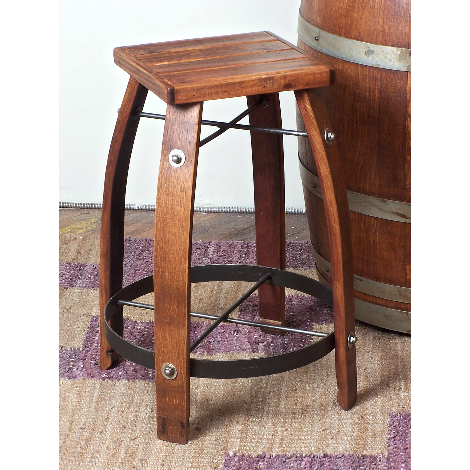 2 Day Designs Reclaimed 24-Inch Stave Wine Barrel Counter Stool with Wood Seat | Hayneedle  sc 1 st  Hayneedle & 2 Day Designs Reclaimed 24-Inch Stave Wine Barrel Counter Stool ... islam-shia.org