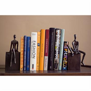 Danya B Man and Woman Sitting on a Block Bookend Set