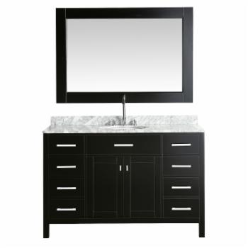 Design Element London 54-in. Single Bathroom Vanity Set with White Carrera Marble Top and Cabinet