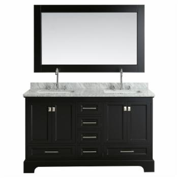 Design Element Omega Double Sink Bathroom Vanity Set with Carrara Marble Top