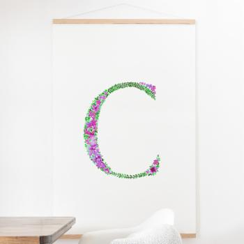 Deny Designs Floral Monogram Letter C Wall Scroll