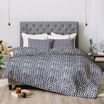 Little Arrow Design Co Arcadia Herringbone In Indigo Comforter by Deny Designs