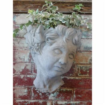 Designer Stone Cherub Head Wall Planter