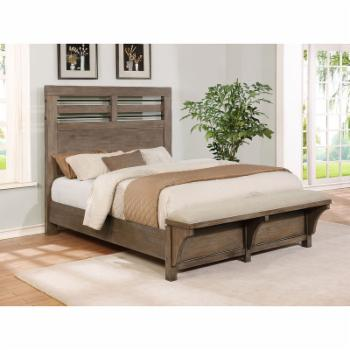 Avalon Furniture Round Rock Panel Bed with Bench Footboard