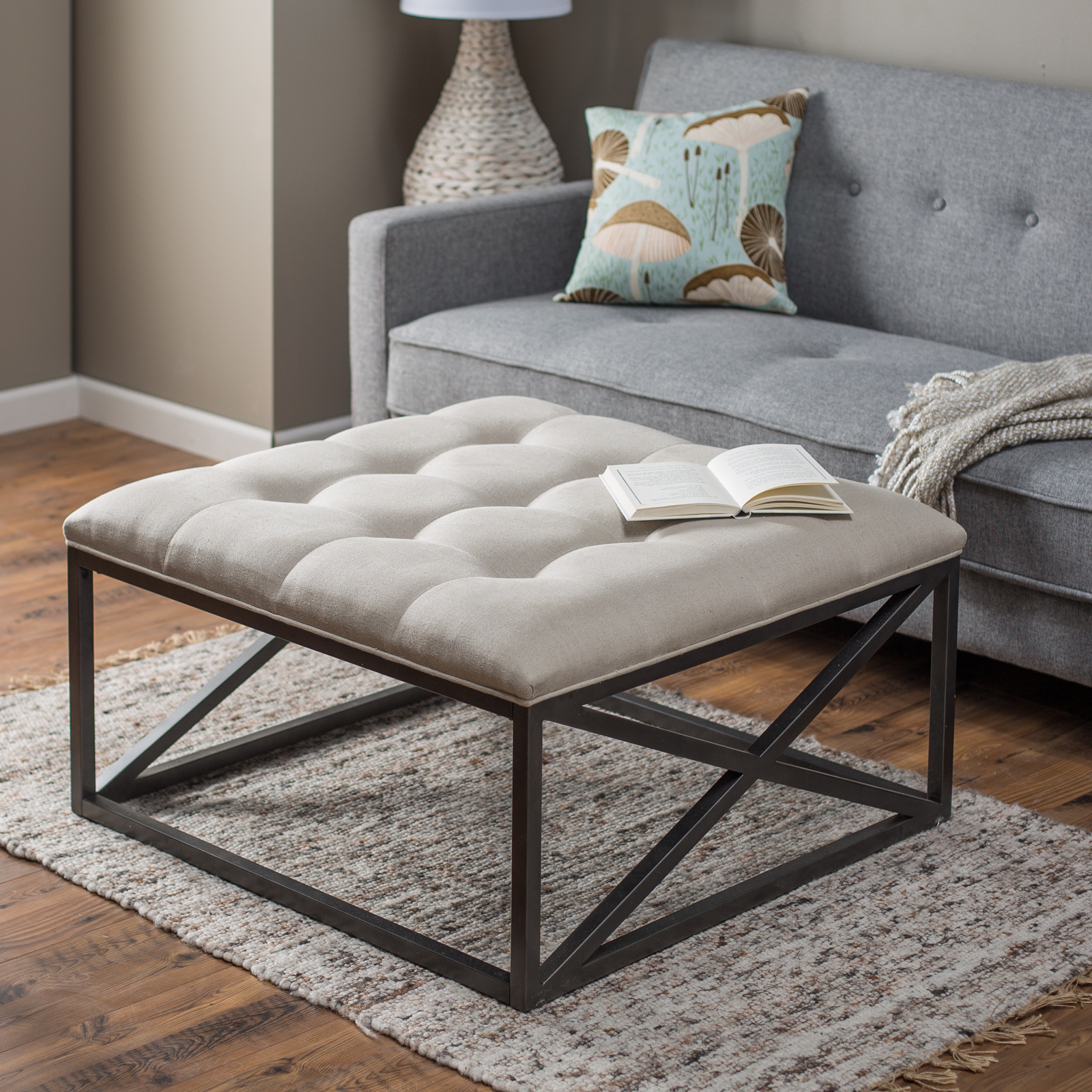 Gentil Belham Living Grayson Tufted Coffee Table Ottoman