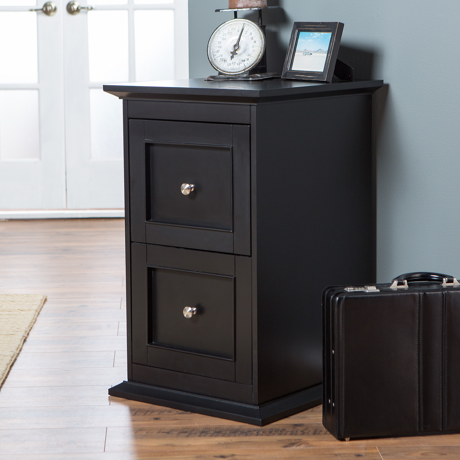 Belham Living Hampton 2 Drawer Wood File Cabinet   Black