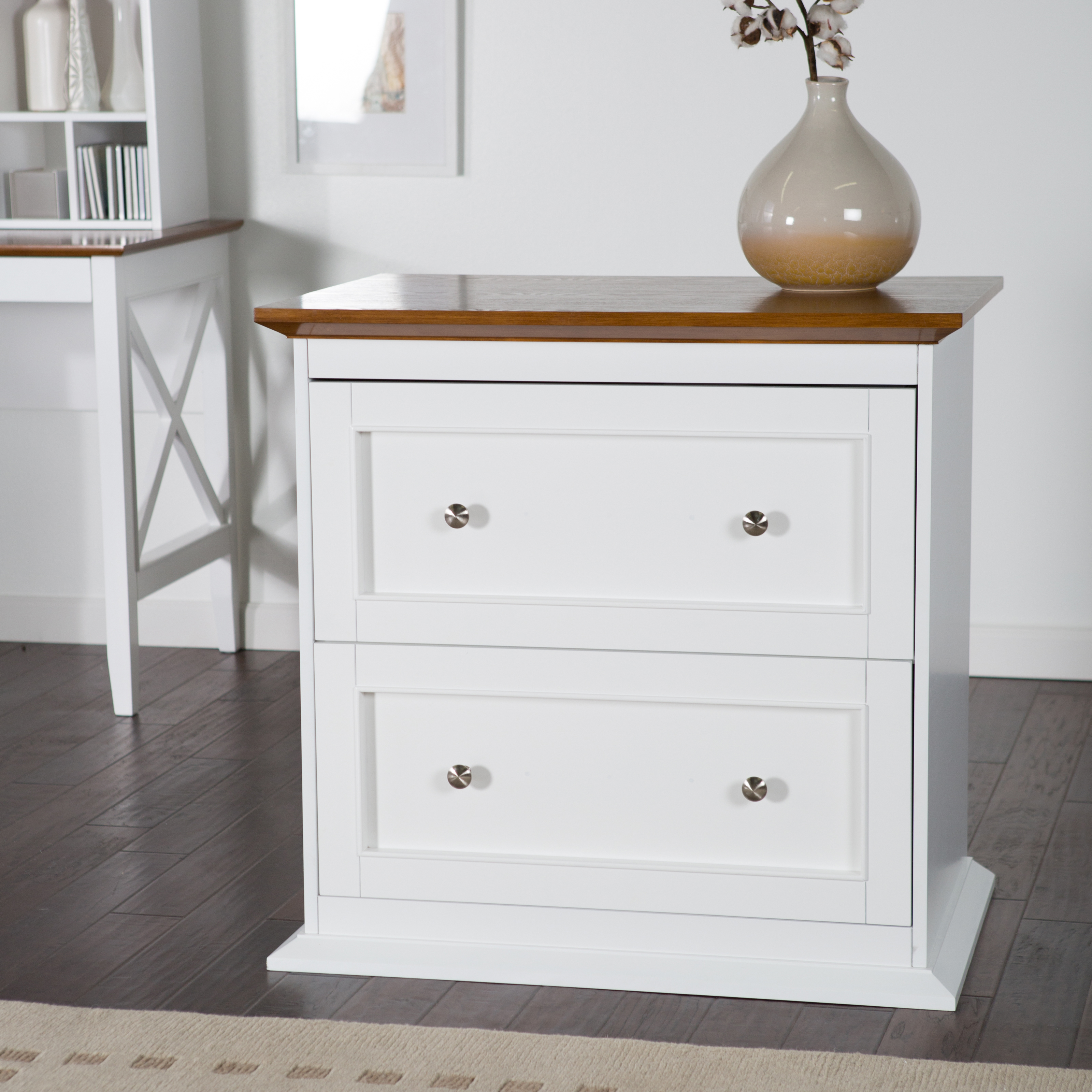 Belham Living Hampton 2 Drawer Lateral Wood File Cabinet   White/Oak |  Hayneedle