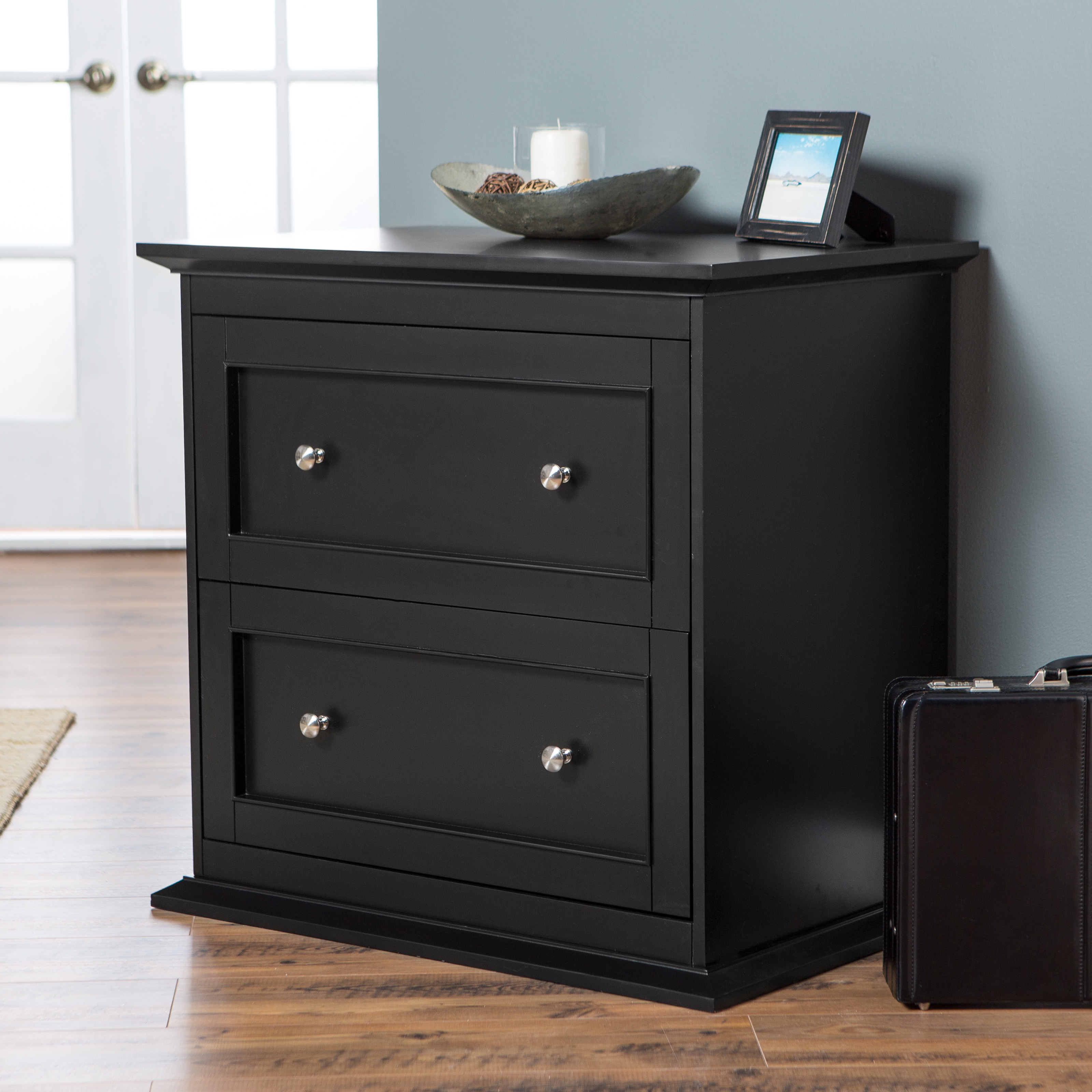 Elegant Belham Living Hampton 2 Drawer Lateral Wood Filing Cabinet   Black