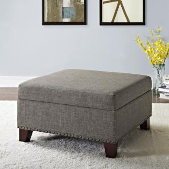 Better Homes & Gardens Grayson Linen Square Ottoman with Nailheads