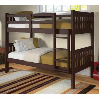 Donco Slatted Twin over Twin Bunk Bed - Dark Cappuccino