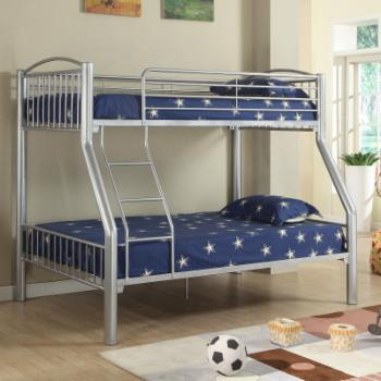 Donco Kids Twin over Full Metal Bunk with Side Ladder - Silver