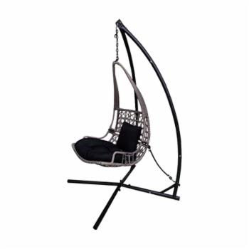 Backyard Expressions Wicker Rattan Hanging Swinging Chair with Cushions and Frame