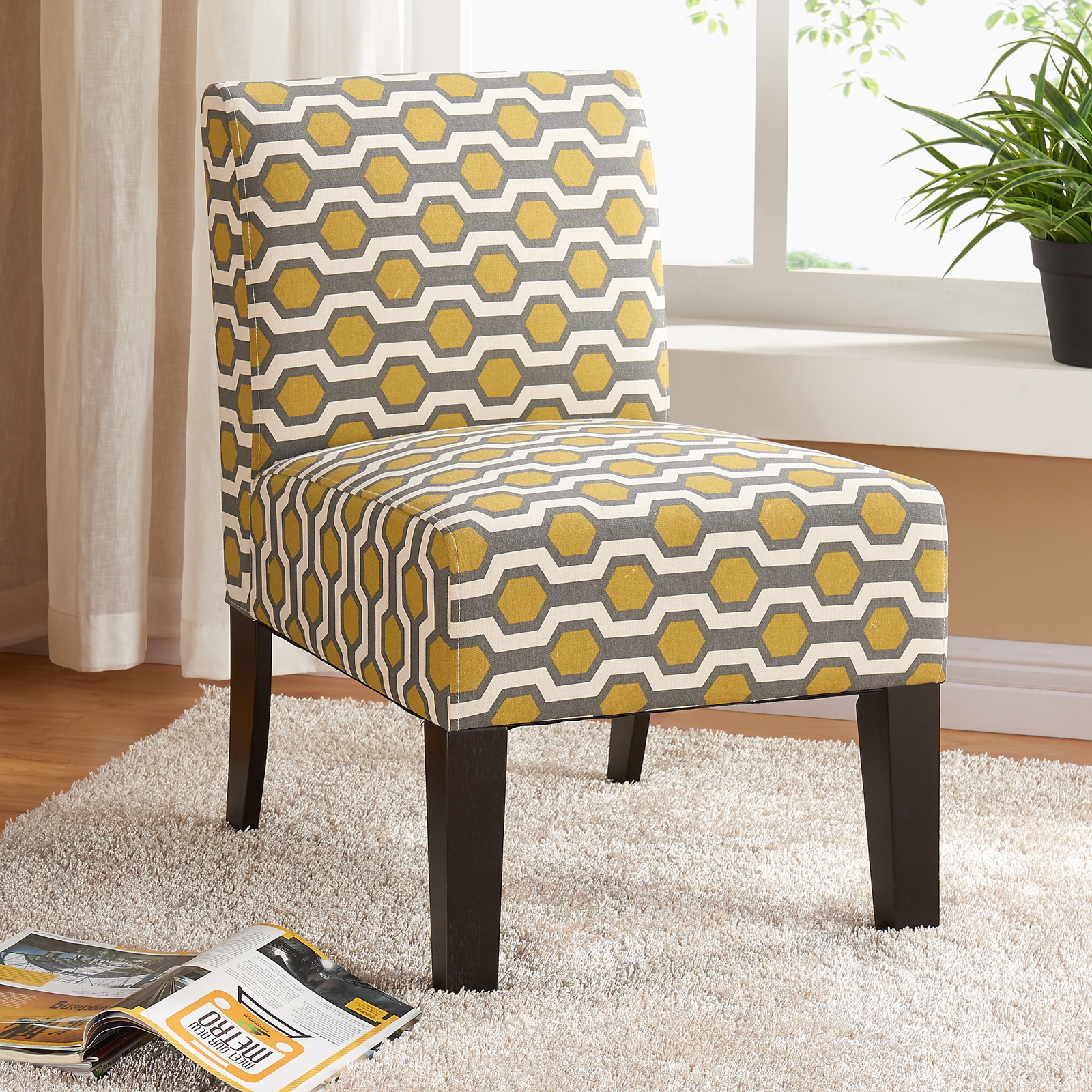 Allegro Side Chair   Gray/Yellow Hex