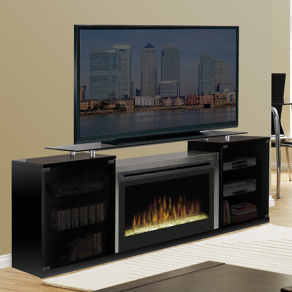cheap electric products ultra with espresso fireplace stand modern tv integrated