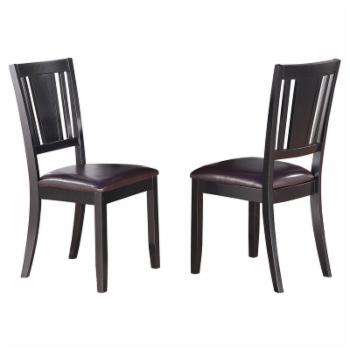 East West Furniture Dudley Dining Chair with Faux Leather Seat - Set of 2