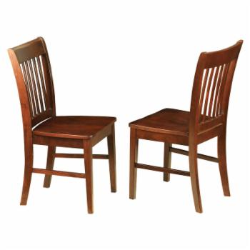East West Furniture Norfolk Dining Chair with Wooden Seat - Set of 2