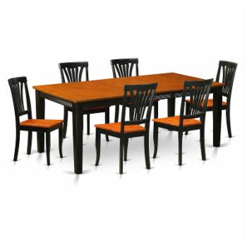 East West Furniture Quincy 7-Piece Lath Back Dining Table Set