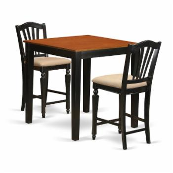 East West Furniture Pub 3 Piece High Splat Dining Table Set