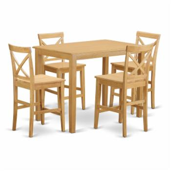 East West Furniture Yarmouth 5 Piece High Cross Dining Table Set