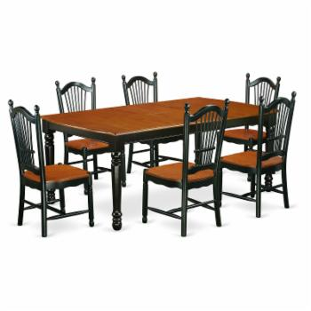 East West Furniture Dover DOVE7 Seven Piece Extension Dining Table Set