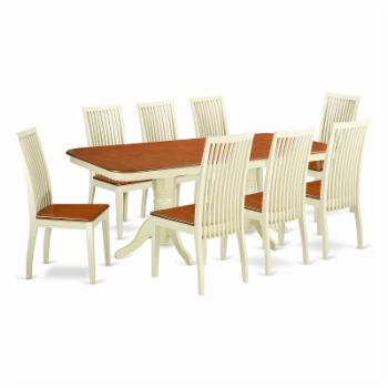 East West Furniture Napoleon NAIP9 Nine Piece Extension Dining Table Set