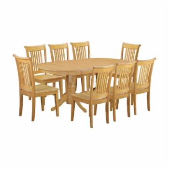 East West Furniture 9 Piece Vancouver Dining Table Set with Extension Leaf and Cushioned Dining Chairs - Oak