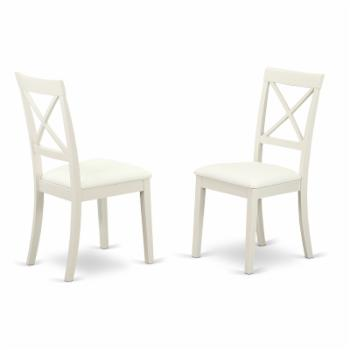 East West Furniture Boston X- Back Upholstered Dining Side Chair - Set of 2