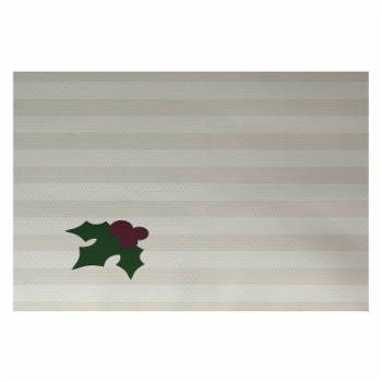 E by Design Holly Tones Holiday Doormat