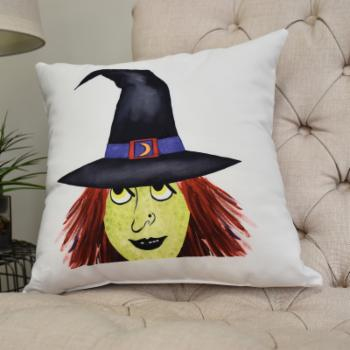 E by Design Peek A Boo Witch Cream Halloween Print Decorative Throw Pillow