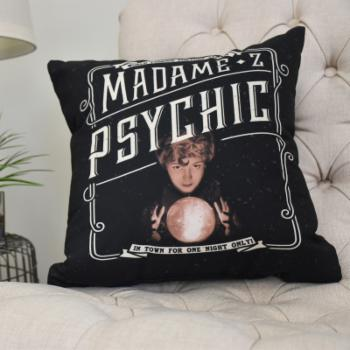 E by Design Madame Psychic Halloween Print Decorative Throw Pillow
