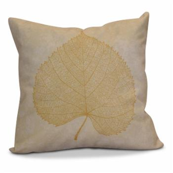 E by Design Flipping For Fall Single Leaf Study Print Outdoor Pillow