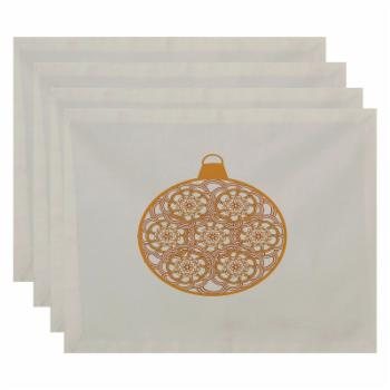 E by Design Holiday Wishes Snowflake Bulb Geometric Print Placemat - Set of 4