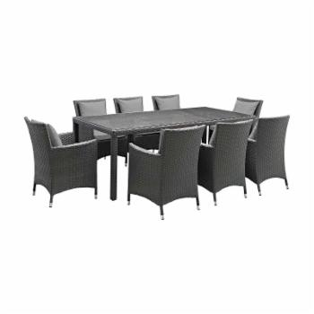 Modway Sojourn Wicker 9 Piece Rectangular Patio Dining Set with Sunbrella Cushions