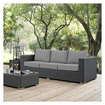 Modway Sojourn Wicker Outdoor Sofa with Sunbrella Cushion